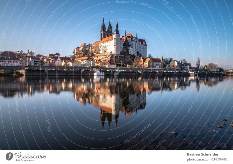 Albrechtsburg Meissen, mirrored on the Elbe Vacation & Travel Sightseeing City trip Architecture Twilight Evening Castle Dome Church Artificial light Light