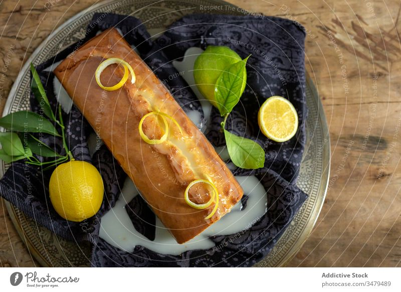 Homemade lemon sponge cake pastry bake baking confectionery homemade fresh wooden dough kitchen gourmet cloth fruit background sugar sweet cooking table natural