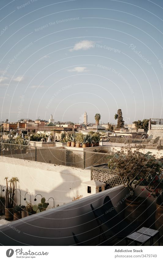 Ancient city with white stone buildings old ancient architecture cityscape marrakesh house street town travel morocco tourism historic exterior culture urban