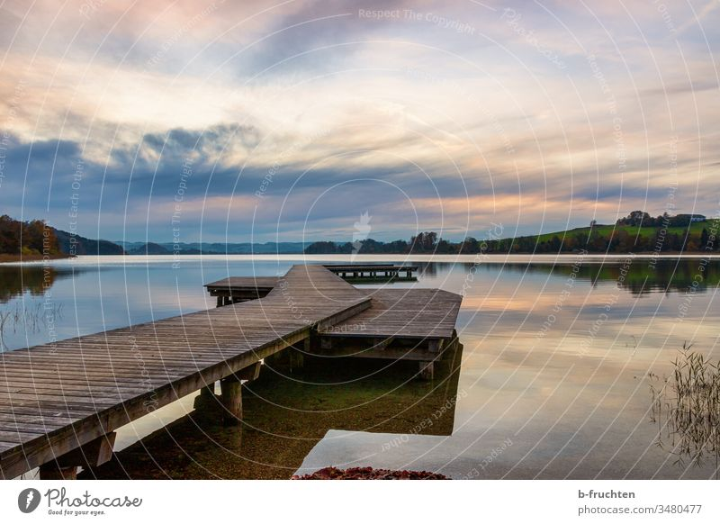 Evening mood at the lake, wooden jetty, clouds Clouds Moody evening mood mattsee wooden walkway Sunset Sky Nature Landscape Twilight Exterior shot Deserted