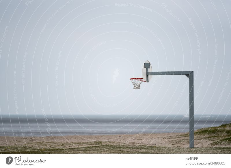 Basketball on the beach basketball ring basketball net basketball court Basketball arena Basketball basket Beach Wangerland North Sea coast tranquillity