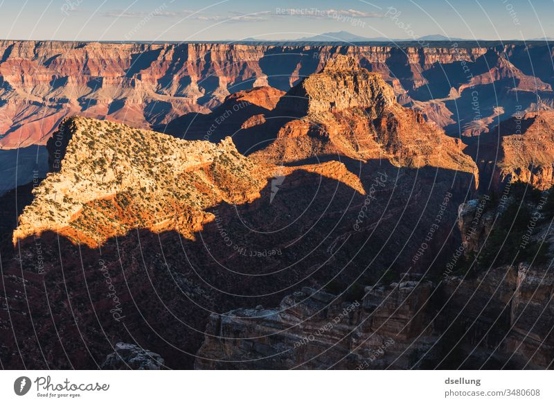 View into the Grand Canyon at sunset Beautiful weather Warmth Sunset Blue Weather Far-off places Panorama (View) Dramatic Horizon Adventure Moody Fantastic