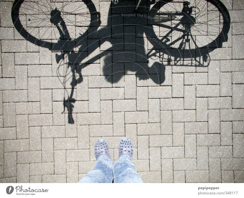 Human being Vacation & Travel Blue Summer Street Sports Feminine Gray Stone Feet Line Masculine Footwear Leisure and hobbies Bicycle Transport