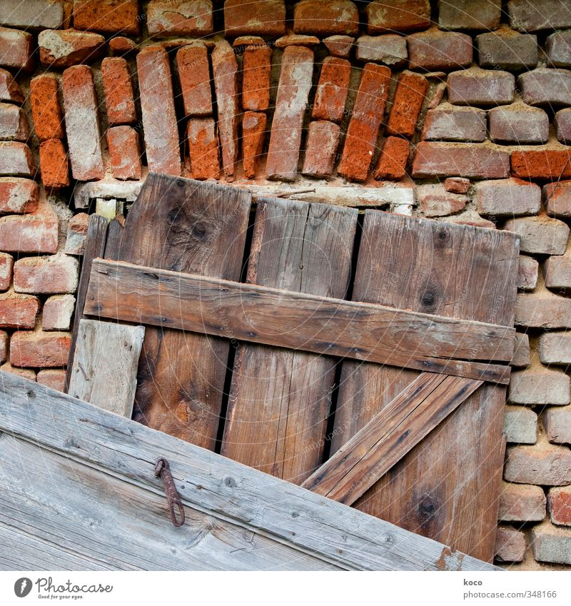 nailed House (Residential Structure) Hut Wall (barrier) Wall (building) Facade Window Door Wooden board Brick Nail Stone Line Old Authentic Sharp-edged Simple