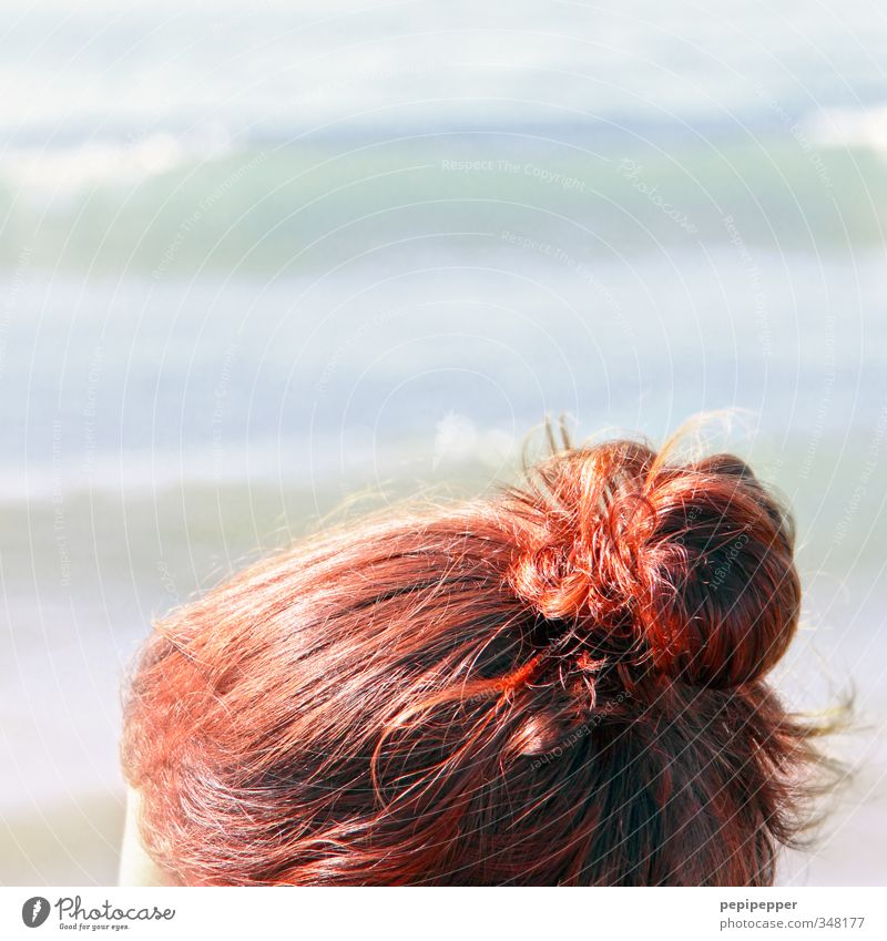 Youth (Young adults) Vacation & Travel Beautiful Water Summer Ocean Red Relaxation Beach Young woman Hair and hairstyles Coast Swimming & Bathing Waves Tourism
