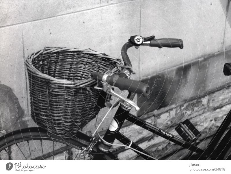 Bicycle with Basket Basketball basket Leisure and hobbies Black & white photo old cold