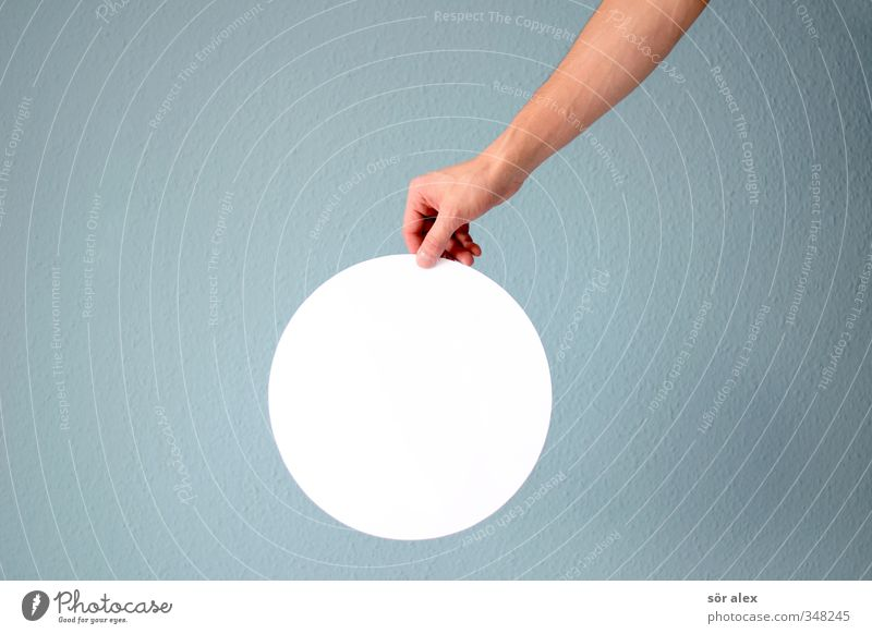 it's a circle... Hand Fingers Underarm Circle Sign Blue White To hold on Structures and shapes Round Circular Copy Space middle Neutral White balance Creativity