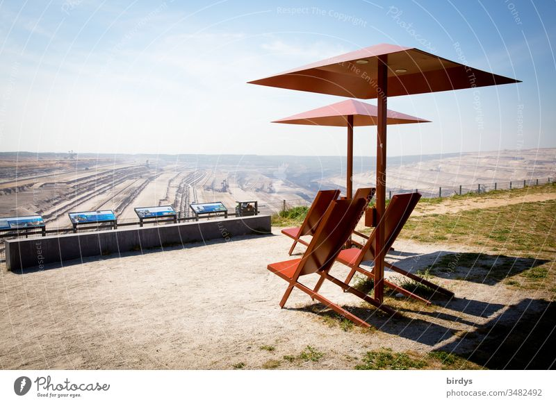 """Viewpoint """" Terra Nova """" at the opencast lignite mine Hambach in NRW. RWE presents its industrial environment and landscape destruction on a biblical scale as a positive achievement"""