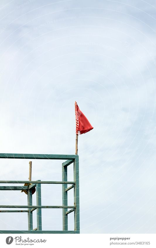 red flag on a steel frame Flag Red Sky Blue Deserted Flagpole Clouds Day Beautiful weather Exterior shot Colour photo Summer Vacation & Travel Blow Tourism