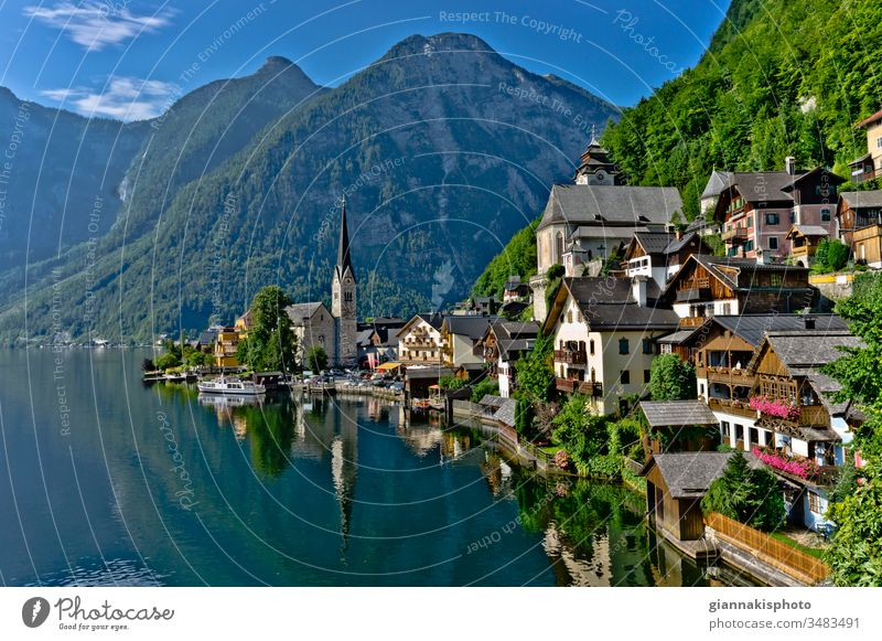Lake View, Hallstatt, Austria, Europe Alps Architecture Buildings Center City Center City view Cityscape Clouds Color Colored Houses Colored Windows Colorful