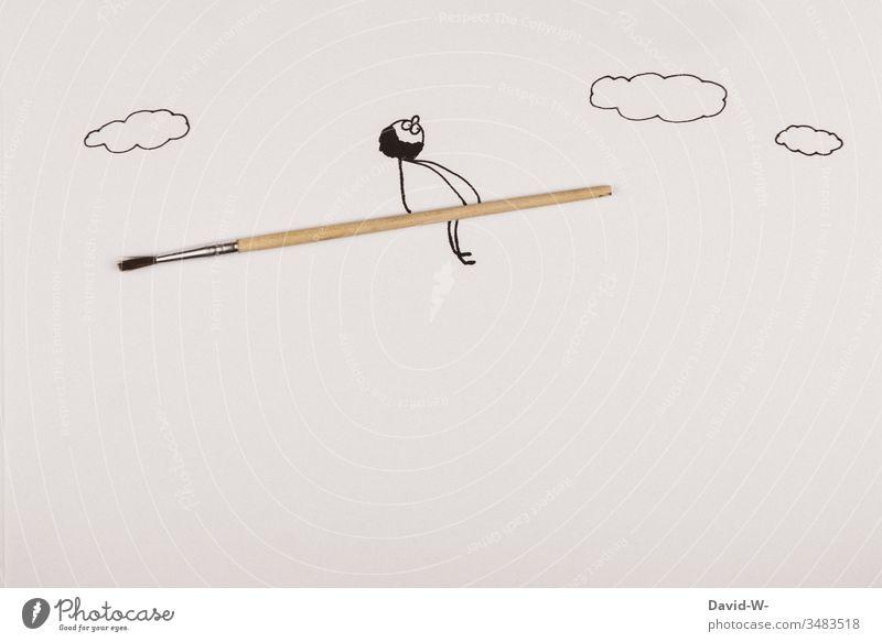 Stickman flies on a brush - Concept / School | Children | paint Paintbrush Drawing Watercolor Stick figure Man wittily Idea leak Broom Funny