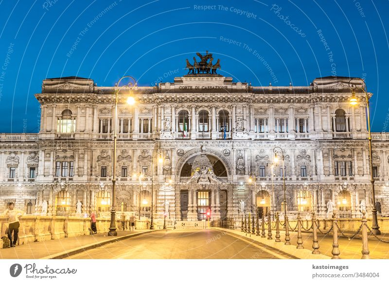 Rome, Italy. Palace of Justice. rome italy supreme court justice palace government architecture illuminated lazio dusk evening bridge building italian city