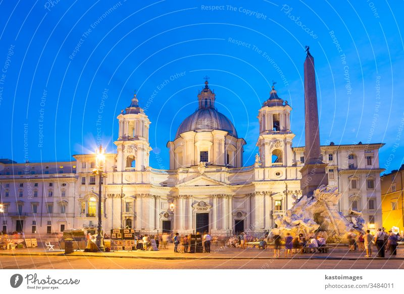 Navona square in Rome, Italy. rome italy landmark Fountain of the four Rivers fontana dei quattro fiumi piazza navona tourist vacation holidays building travel