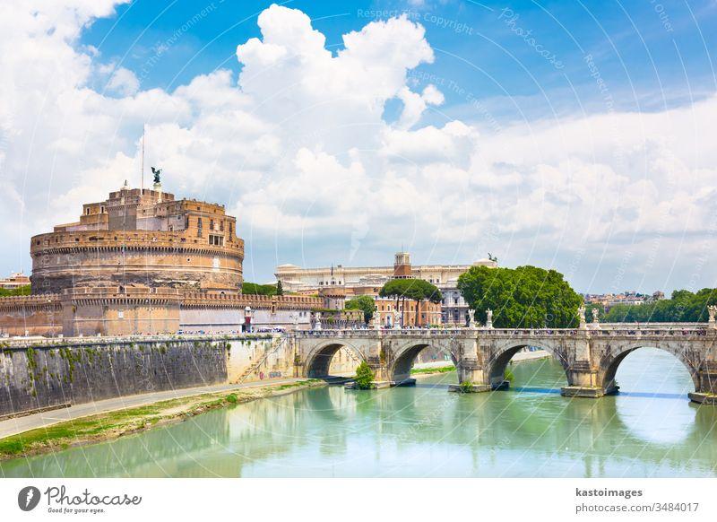 Sant Angelo Castle and Bridge in Rome, Italia. rome italy castle landmark bridge architecture river europe history historic tiber fortress capital ancient city