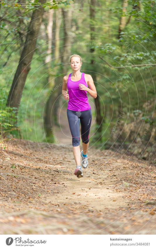 Pretty young runner girl in the forest. Walking active Sports Woman Girl tutorial Be suitable youthful Forest person Lifestyle Relaxation more adult outside