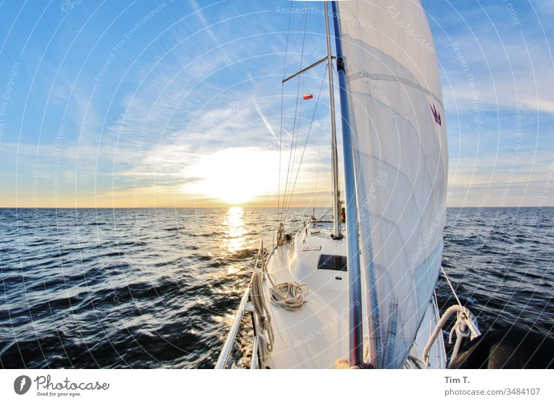sail Sailing ship Sailboat Sun Horizon Bavaria Water Ocean Summer Relaxation Lifestyle Sports Nautical Yacht Adventure Wind Sky vacation travel