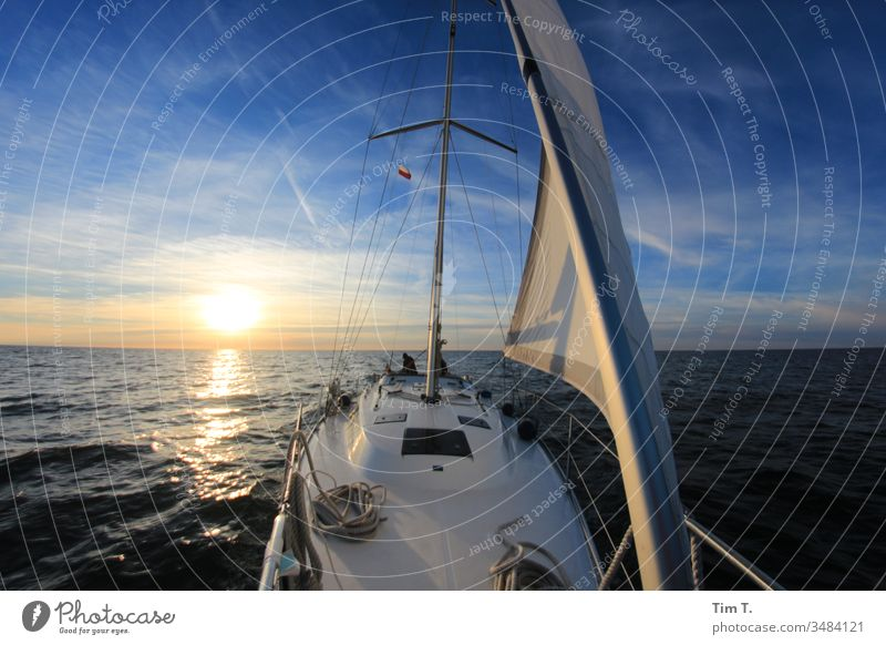 sail Sailing Baltic Sea Sailing ship Bavaria sunset Sunset Ocean Water Waves waves sea seaside Lake water Yacht yacht holidays Sky Europe