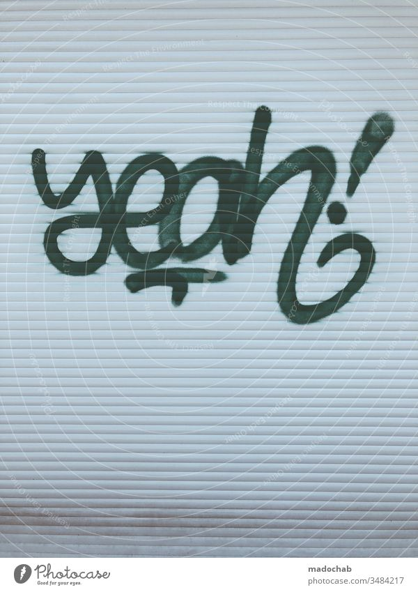 yeah! Graffiti urban style street art Youth culture Spray Art Wall (building) Characters Mural painting Town Typography Tagger Vandalism Daub Culture Street art