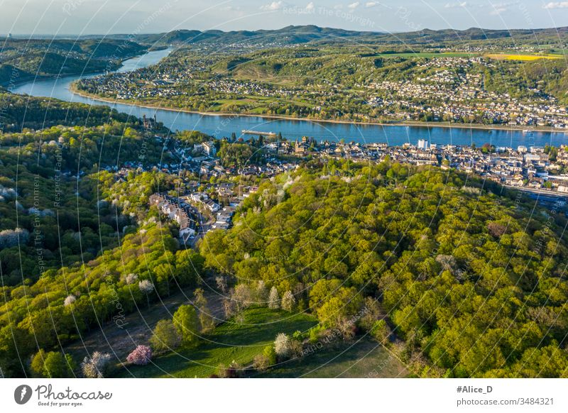 Aerial view of the Rhine Valley and the Cities Remagen  Erpel and Unkel Germany aerial apollinaris church attraction beautiful birdseye bonn city cityscape