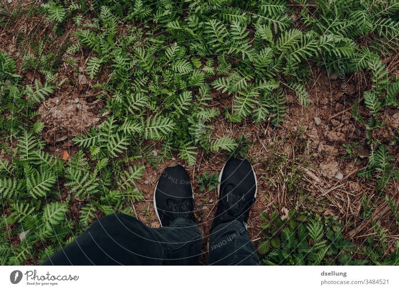 With both feet on the ground Black hike Stayhome Loneliness Silent Stand insulation Free Action Tourist Parts of body Legs good weather Rural Tourism Freedom