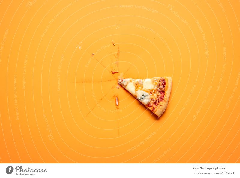 Single pizza slice on orange background. Last pizza slice. above view carton classic comfort food convenience food cut out delicious dinner fast food