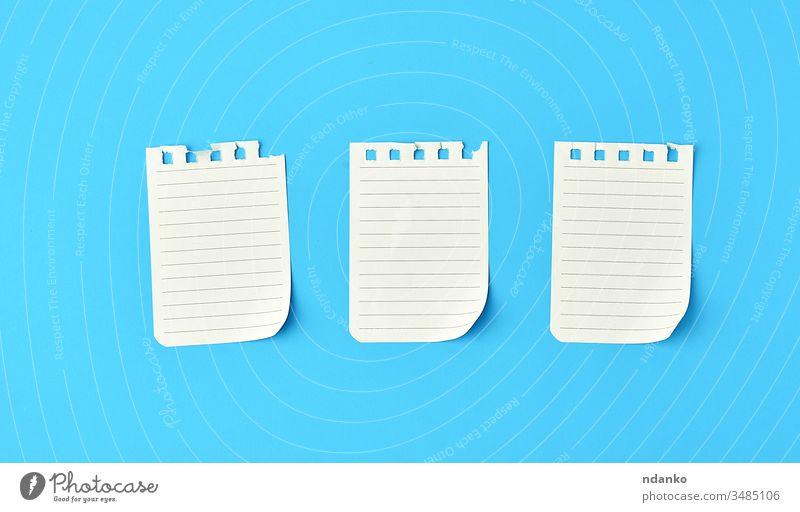 empty white sheets in a line torn out of notepad on a blue background above blank book business concept copy space diary document education flat list memo