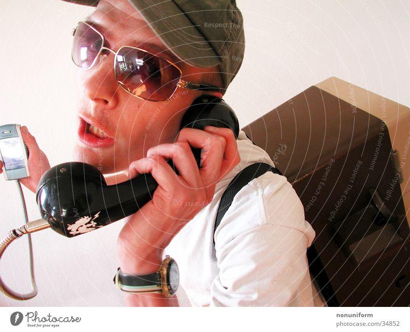 Man Telephone Retro Telecommunications Freak Seventies To call someone (telephone) Receiver The eighties Technology Headset Phone box Payphone