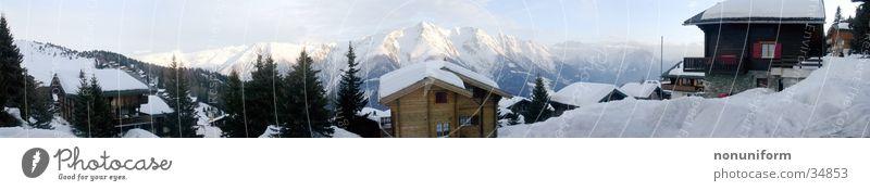 Winter Panorama Twilight Panorama (View) Ski resort Mountain village Snow Hut bettmeralp Alps alpine Large Panorama (Format)