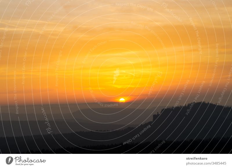 Sunset over the Pfaffenstein, seen from Gohrisch, Elbsandsteingebirge, Saxon Switzerland Elbsandstone mountains pfaffenstein Gothic Sunlight Summer Landscape
