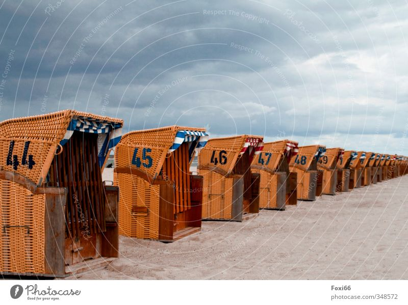 short summer break Summer Summer vacation Beach Beach chair Sand Sky Clouds Bad weather Coast Baltic Sea Wood Plastic Relaxation Blue Orange White Anticipation