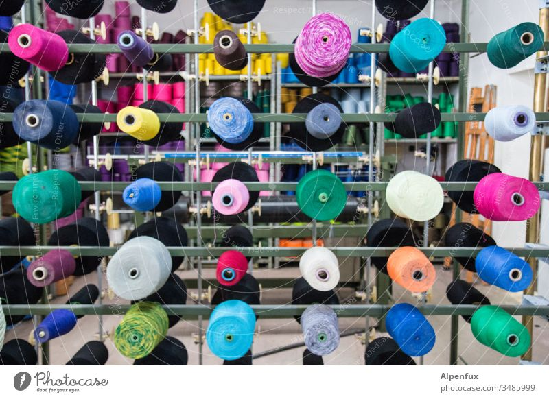Role plays | taken literally Bobbin yarn variegated Weaving Craft (trade) Thread String Sewing Clothing Material Factory textile Fashion Equipment Production