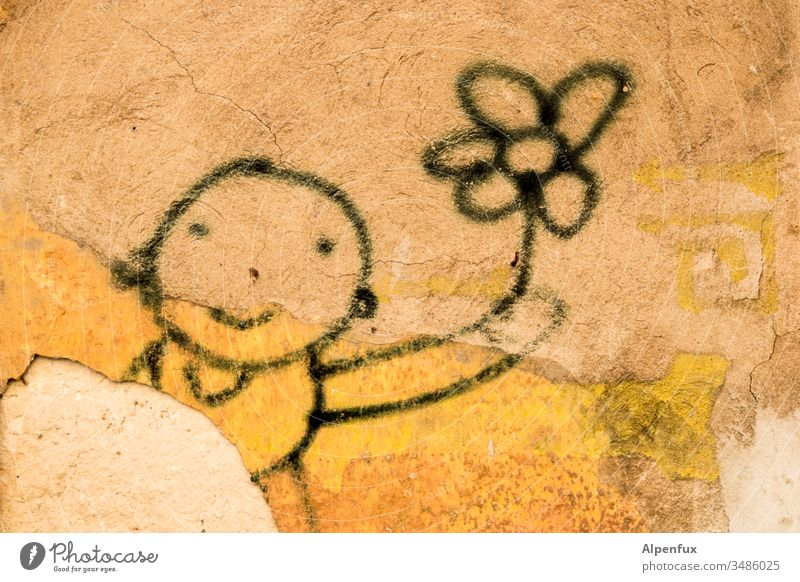 flower power Graffiti flower child Wall (barrier) Deserted Exterior shot Characters Facade Town Colour photo Child flowers Wall (building) Smiling