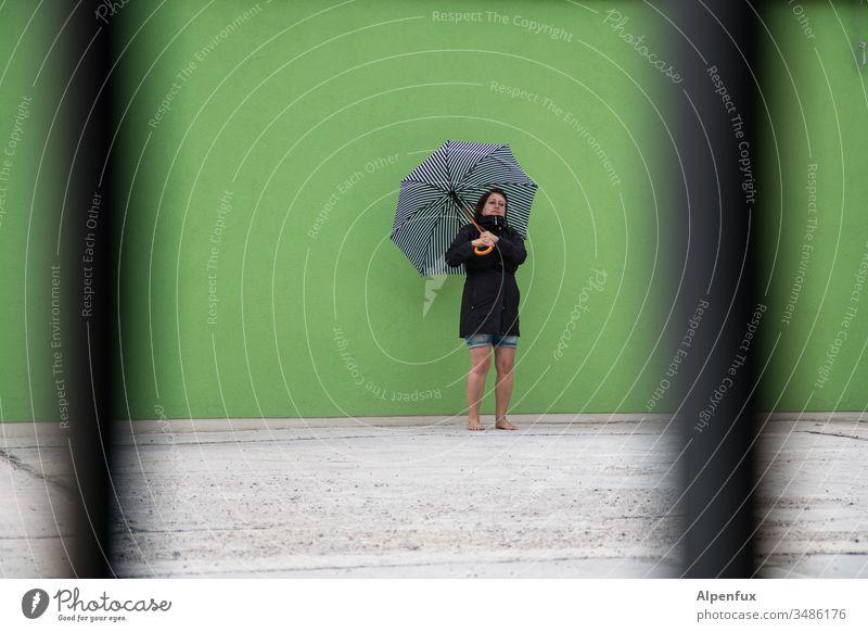 Haute Couture   umbrella model secretly photographed Woman Umbrellas & Shades secret observer Sunshade Colour photo Human being Summer Adults Exterior shot