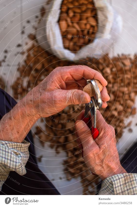 Top view of hands of an old man peeling almonds. Blur background with shells and bag full of almonds. person crack fruit elder nut dry top healthy leisure