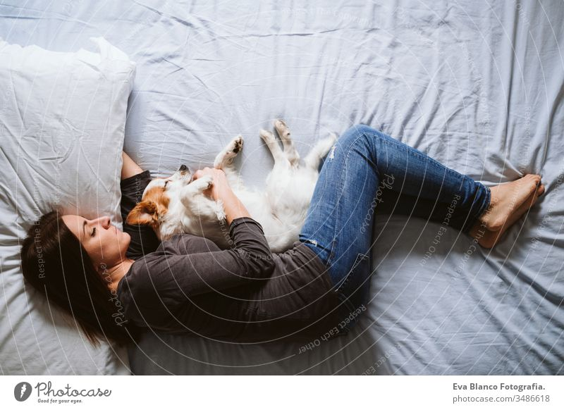 young woman and dog at home resting on bed. Love, togetherness and pets indoors sleeping love daytime caucasian jack russell stay home stay safe quarantine girl
