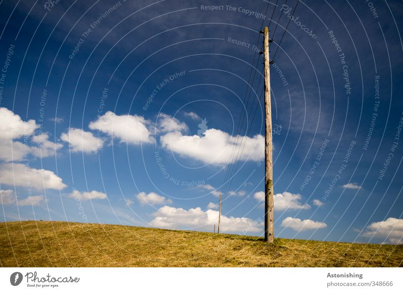 Electricity - Lines Cable Energy industry Environment Nature Landscape Plant Sky Clouds Horizon Spring Weather Beautiful weather Grass Meadow Hill Stand Thin