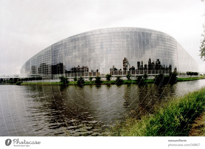 European Parliament Strasbourg European parliament France Architecture Houses of Parliament l´ìll Water River archticture Glass mirrored