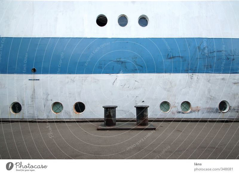 nine eyes Navigation Sailing ship Harbour Porthole Metal Old Blue Gray White Colour photo Pattern Deserted Copy Space bottom Copy Space middle
