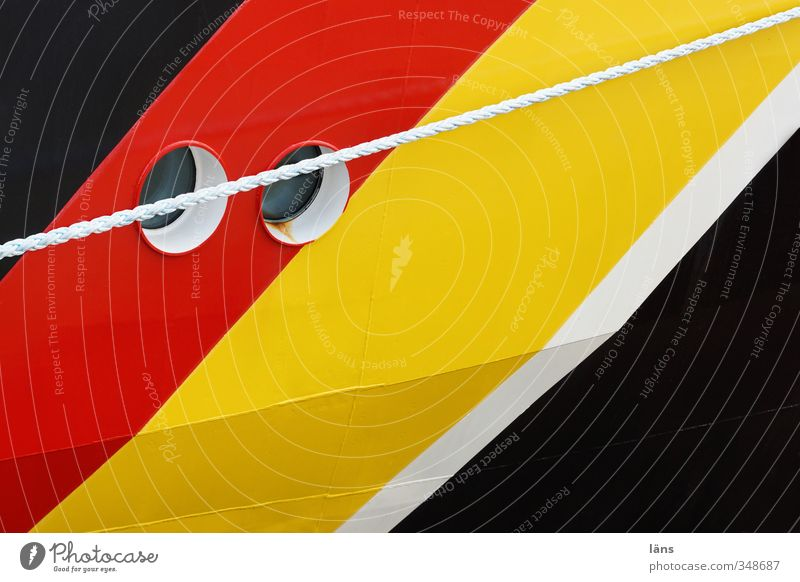 two eyes Transport Navigation Watercraft Rope Porthole Line Stripe Yellow Gold Red Black White Colour photo Exterior shot Pattern Deserted Copy Space right
