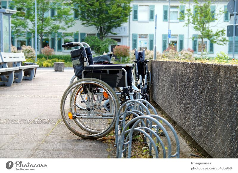 abandoned old wheelchairs parked outside a hospital Wheelchair health care and medicine Hospital no people handicap lifestyle Support Transport Accessibility