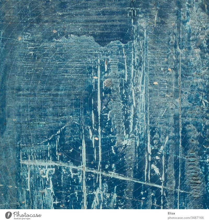 Blue background of wood with abstract structures with lines, scratches, grooves, brush strokes and flaked paint Scratch mark Wall (building) Abstract Colour