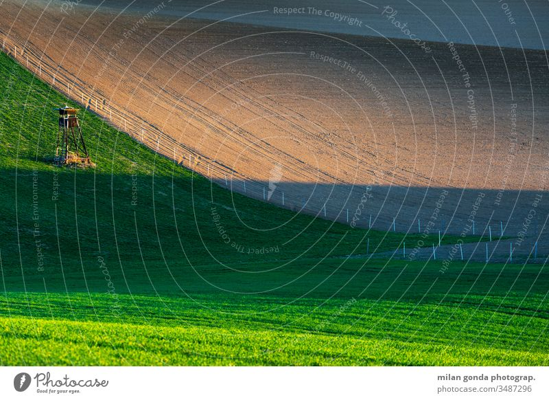 Rural landscape of Turiec region in northern Slovakia. countryside rural fields spring agriculture nature hunting lookout