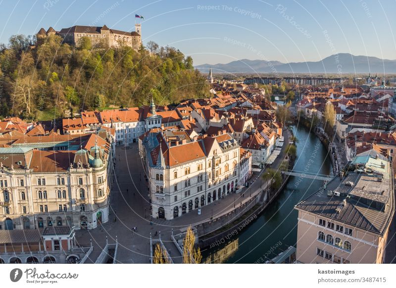 Aerial drone panoramic view of Ljubljana, capital of Slovenia in warm afternoon sun ljubljana slovenia castle cityscape panorama town medieval architecture