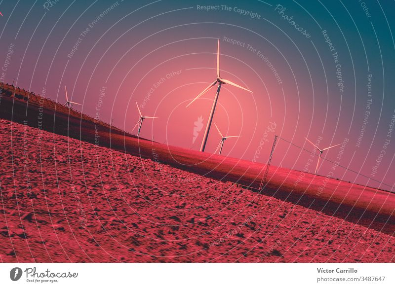 A wind energy electric windmill turbine in a colorful sunset and landscape power electricity sky environment farm alternative generator renewable wind turbine