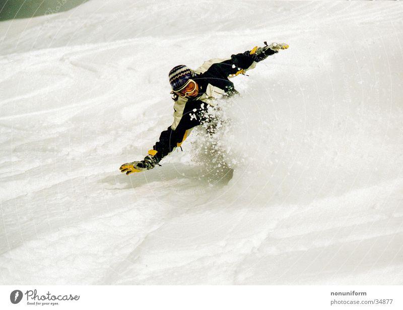 Winter Snow Sports Speed Posture Balance Downward Snowboarding Spirited Snowboarder Deep snow Powder snow Skiing goggles