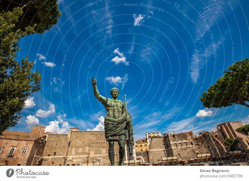 Caesar Octavian Augustus Statue in front of Ancient Trajan's Market in Rome rome italy architecture augustus caesar cesare dominator emperor empire europe