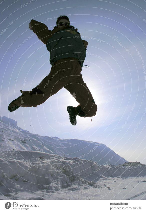 Man Joy Winter Vacation & Travel Snow Jump Mountain Sportsperson Winter vacation
