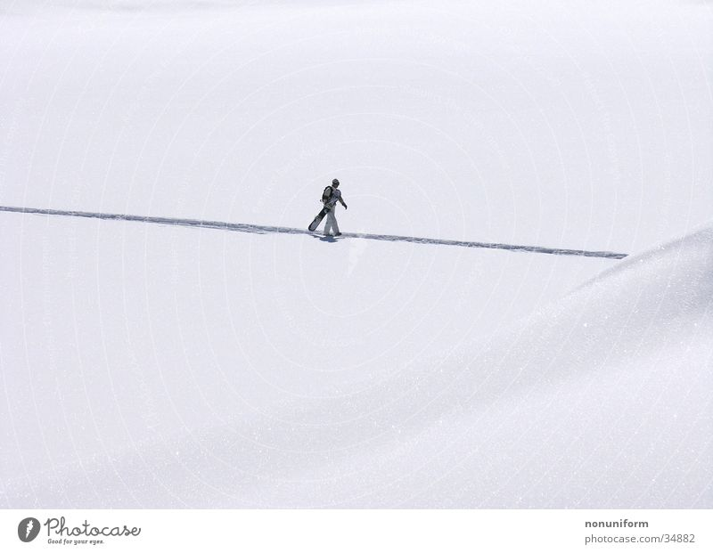 Vacation & Travel Loneliness Winter Snow Sports Individual Carrying Snowscape Pedestrian Slope Winter sports Snow track Snowboarder