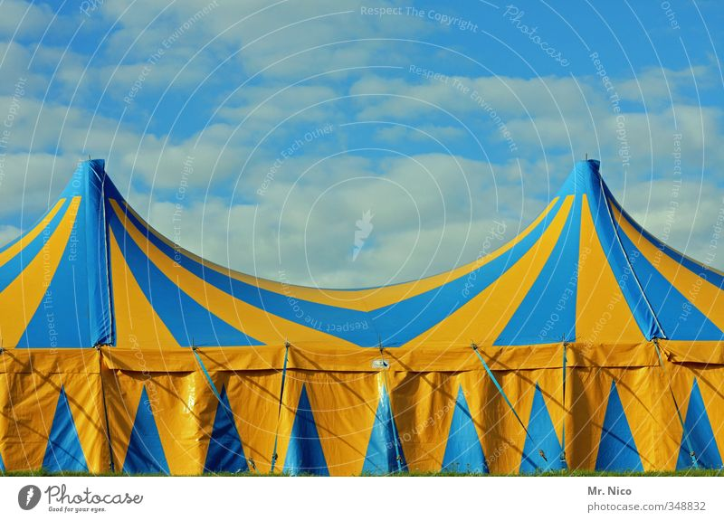 halligalli Lifestyle Leisure and hobbies Entertainment Event Puppet theater Circus Shows Environment Sky Clouds Blue Yellow Tent Variety Circus tent Stripe Roof