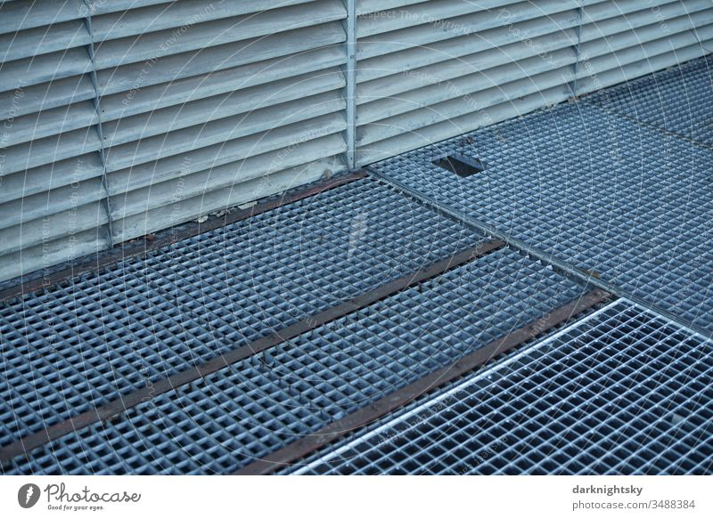 Metal grating grate, architecture in detail Grating Metal grid Colour photo Structures and shapes Deserted Detail Architecture Lightshaft zinc-plated aluminium